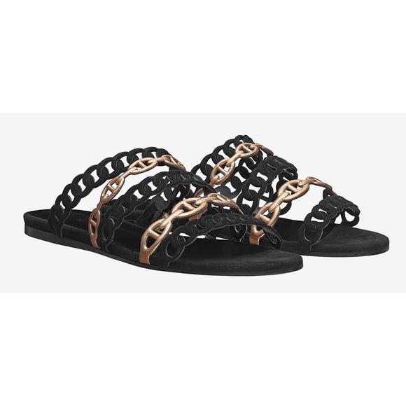 Hermes Shoes - New Hermès Chaine d'Ancre Sandals Black Suede 38.5